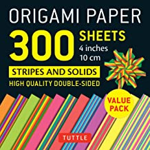 "Origami Paper Stripes and Solids: 4"" (10cm) 300 sheets"