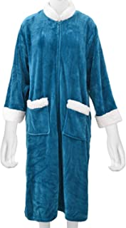 Shop LC Delivering Joy Teal Cozy Soft Long Flannel Robe with Zipper and Sherpa at Collar XS/S 100% Polyester