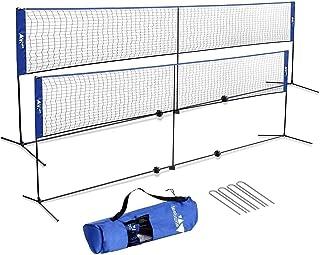 amzdeal Portable Badminton Net Set Freestanding Adjustable Net for Volleyball, Tennis, Badminton, Sports Net for Indoor Outdoor Court, Backyard, Beach, Driveway