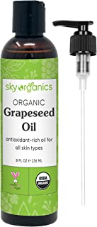 Grapeseed Oil by Sky Organics (8oz) 100% Pure, Natural & Cold-Pressed Grapeseed Oil - Ideal for Massage, Cooking and Aroma...