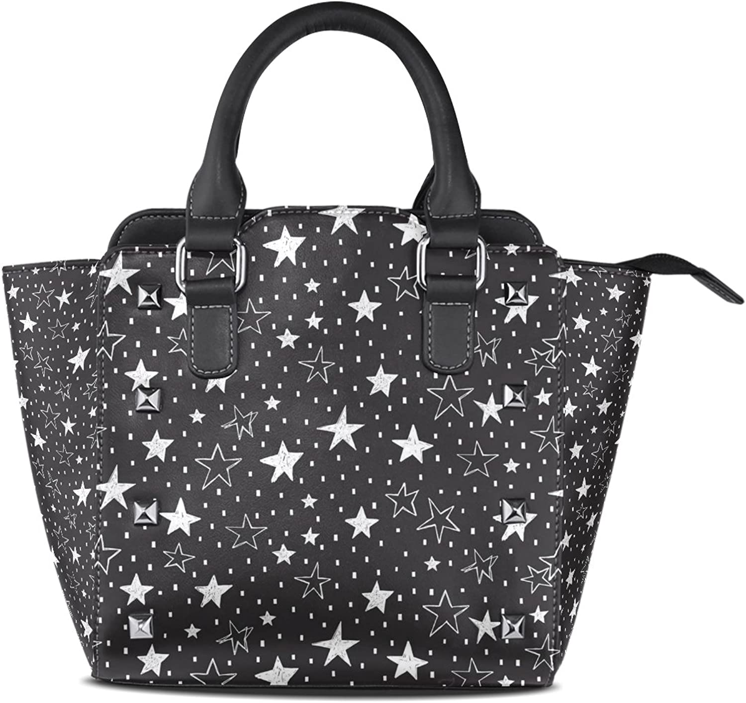 Sunlome Stars Print Women's Leather Tote Shoulder Bags Handbags