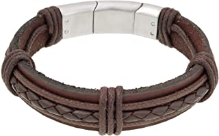 Genuine Brown Leather Bracelet with Stainless Steel