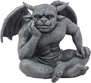 Ebros Horned Gargoyle The Dreamer Figurine Sitting Statue 6.5 Inch Long Le Penseur Thinker Stoic Watchman As Talisman of Protection Fairy Garden Accessory DIY Renaissance Or Medieval Collectible