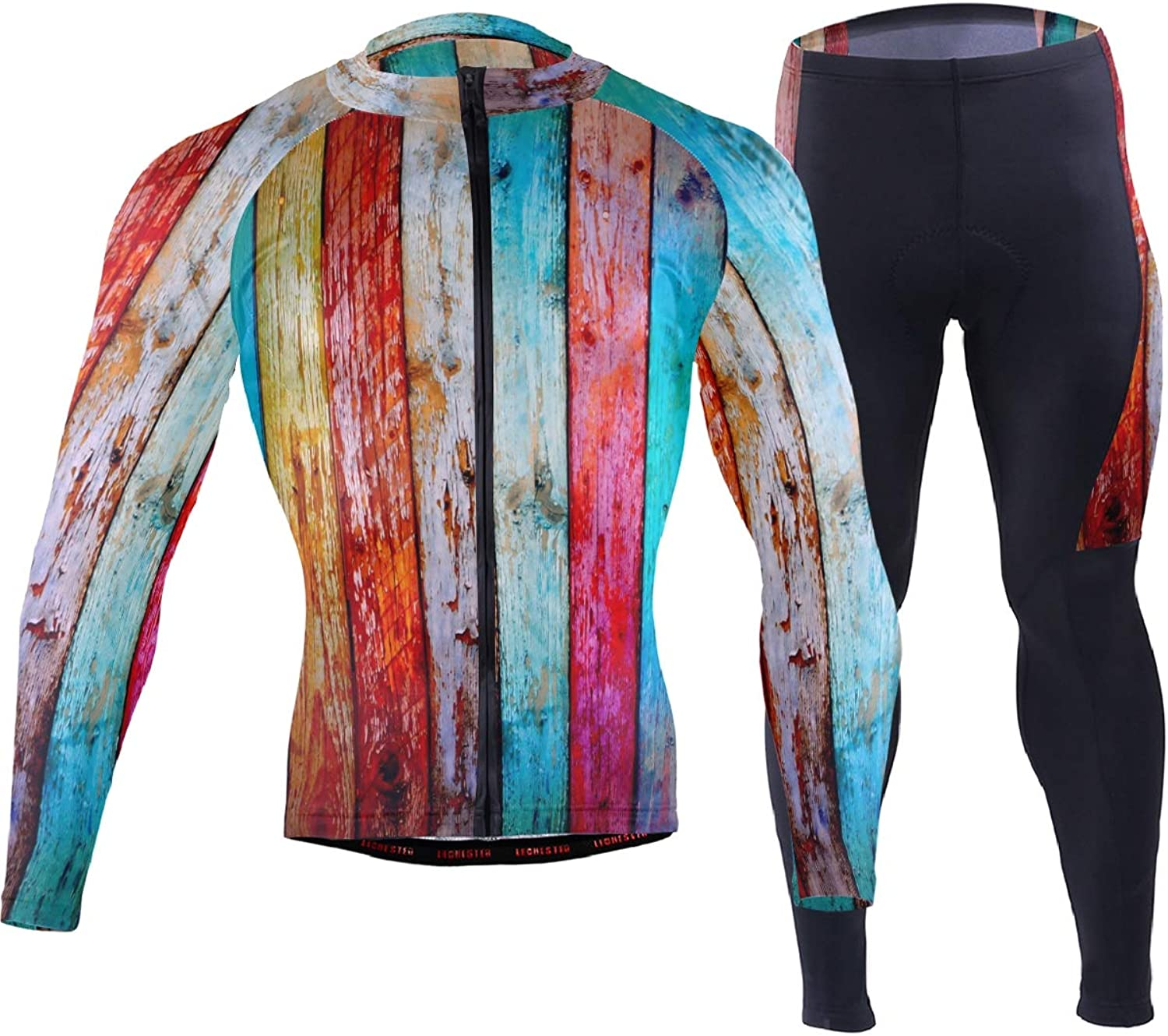 FAJRO colorful Rainbow Grungy Bord Pattern Sportswear Suit Bike Outfit Set Breathable Quick Dry 3D Padded Pants