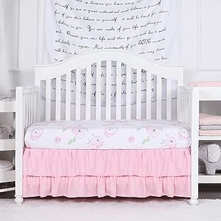 TILLYOU Crib Skirt Dust Ruffle Double Layer, Microfiber Nursery Crib Toddler Bedding Skirts for Baby Girls, 14