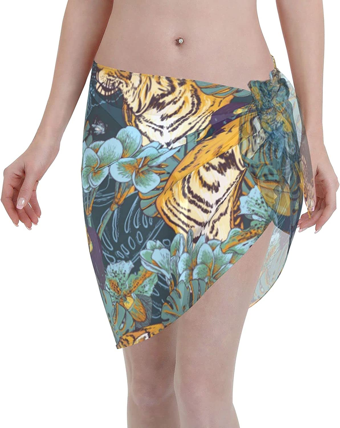 marat Women's Wrap Skirt Tropical Floral Seamless Background with Tiger Tie Up Waist Swimsuit Cover Ups Sarong Swimwear Beach Summer Shawl 55.1 X 18.6 Inch Black