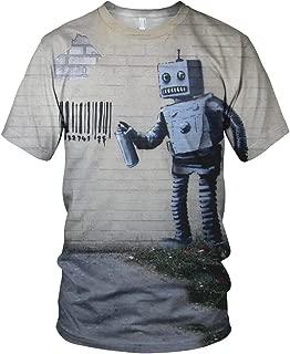 Banksy Street Art Robot Coney Island Men's Fashion T Shirt, Multicolour, L