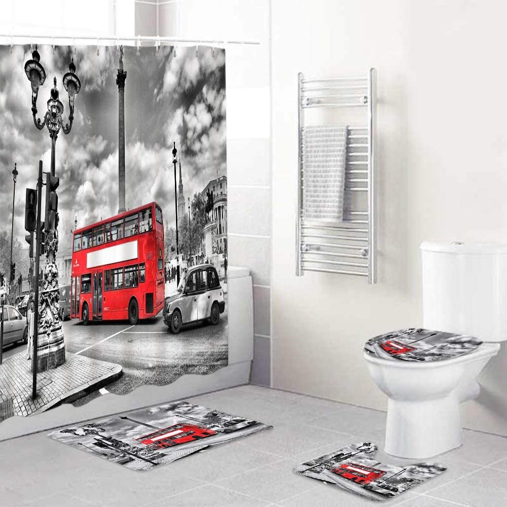 LONSANT 4Pcs Max 77% OFF Shower Curtain Sets London Black with Non-Slip 2021 autumn and winter new Rug