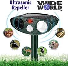 Ultrasonic Pest Repeller by Wide World - Solar Powered Waterproof Outdoor Wild Animal Repellent - Motion Sensor and Flashing Light for Deer Cat Dog Squirrel Mole Rat Fox Wolf Raccoon