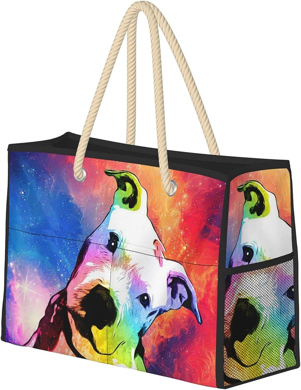 Topics on TV Rainbow Pitbull Women Beach Tote Bag Indianapolis Mall With Zipper Ha Large Travel