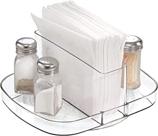 iDesign Linus Plastic Lazy Susan Napkin and Condiments Turntable Holder for Kitchen Countertops and Dining Tables, Clear