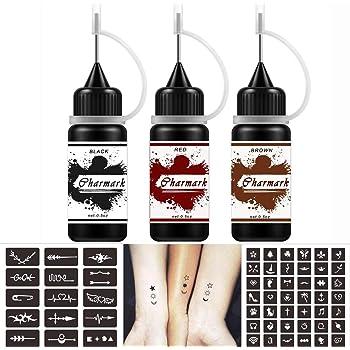 Charmark Jagua Gel Temporary Tattoo Kit for Women Men Kids Fake Tattoos Semi Permanent Tattoo Ink Summer Trend Art Painting DIY Fake Freckles 84 Pcs Tattoo Stencils - Full Kit 3 Colors