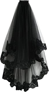 Black Lace Veil Creative Mantilla Cathedral Tulle Sheer Wedding Halloween Veil for Bride With Comb