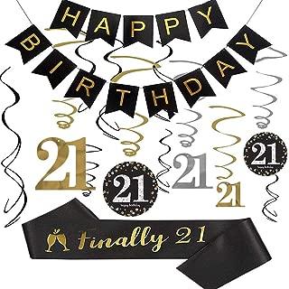 21st Birthday Party Decorations kit, 21st Birthday Gifts for Her/Him, Happy 21st Birthday Banner, Sparkling Celebration 21 Hanging Swirls,