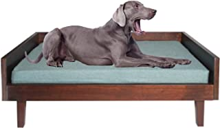 O&J OBI & JERRY 'S CARPENTRY Arthur Sturdy Wooden Dog Bed for Large Size Dogs with PU Foam Grey Mattress Easy to Clean (Da...