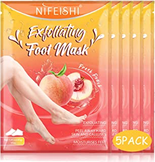 Foot Peel Mask - 5 Pack of Peach Foot Mask - Removes Calluses,Dead and Dry Skin - Repairs Rough Heels, Foot Peeling Mask f...