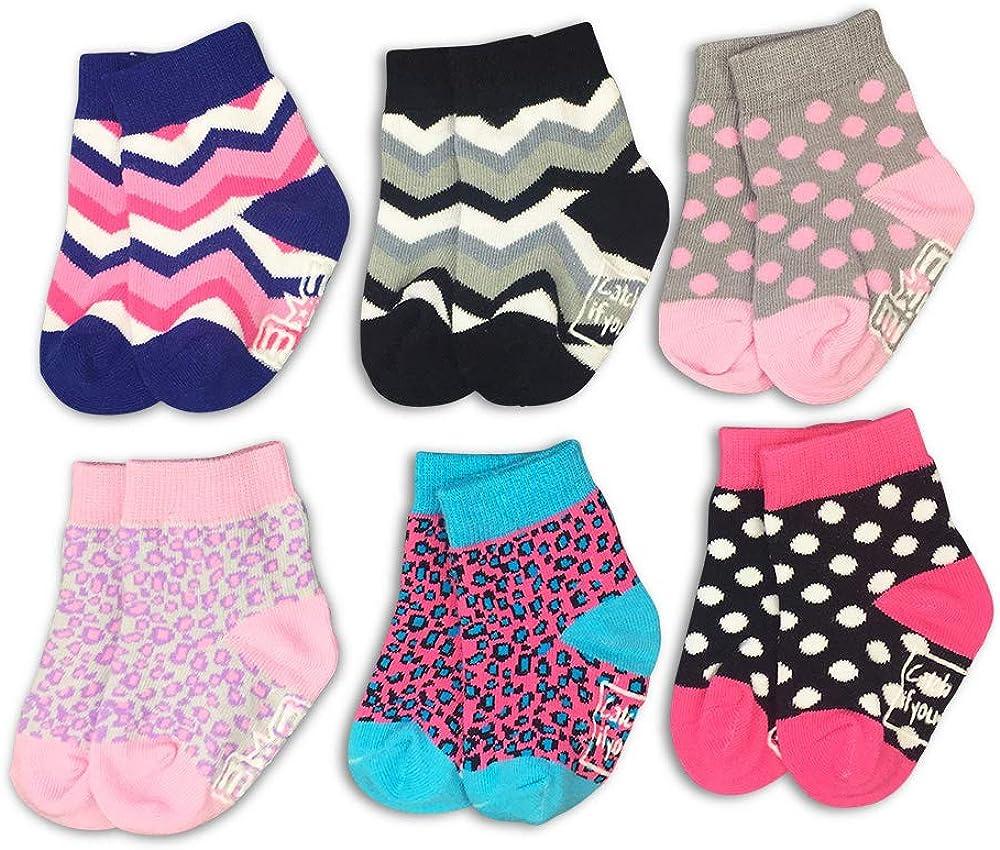Girls Cute 6-Pair Baby Sock Gift Set -Daytona- Newborn Leopard Polka Dot Organic