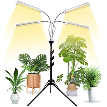"Grow Lights for Indoor Plants Full Spectrum with 58"" Extendable Tripod Stand,200W Auto On/Off Timing Function Four-Heads Floor Plant Grow Light for Succulent and Seedling"