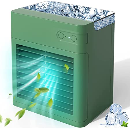 Mini Raffreddatore D'aria, ricarica USB, 3 velocità regolabili e 7 luci a LED, Grande serbatoio dell'acqua, maggiore capacità.per casa, camera da letto, ufficio, esterno