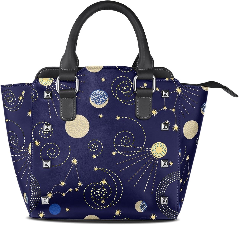 My Little Nest Women's Top Handle Satchel Handbag Zodiac Sky Abstract Geometric Constellations Ladies PU Leather Shoulder Bag Crossbody Bag