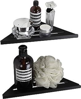 BVL Black Corner Shelf, Wall Shelf Floating Adhesive Aluminum for Bathroom and Kitchen,2 Sets Packnig