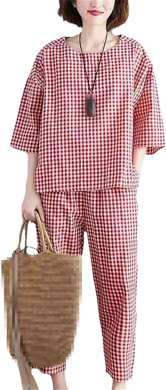 2 Piece Sets Tracksuits Women Plus Size Plaid Short Sleeve T-Shirts and Pants Suits Casual Fashion Sport Set