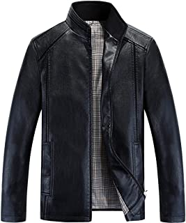 Men's Fashion Stand Collar Zip Up Faux Leather Jacket