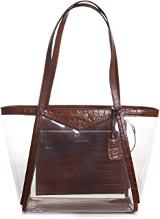 Michael Kors Whitney Large Top Zip Tote Handbag in Chestnut Clear