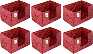 Heart Home Metalic Flower 6 Pieces Large Capacity Space Saver Closet, Stackable and Foldable Saree, Clothes Storage Bag, N...