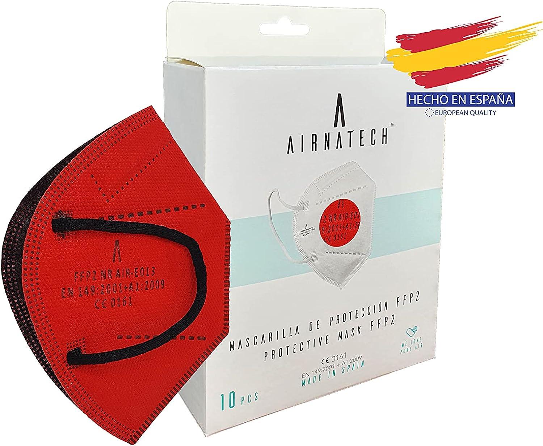 A AIRNATECH Mascarillas FFP2 Roja pack de 10 unidades. Marcado CE0161 Homologadas - Normativa EN149: 2001+A1: 2009 - 5 Capas de 95% Filtración - Mascarilla ffp2 protección respiratoria