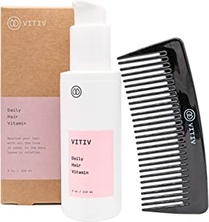 VITIV Daily Hair Vitamin- Leave In Conditioner Hair Vitamins Featuring Chia Seed Oil & Sacha Inchi Oil - All Natural, Vegan, Silicone Free - Includes Comb (4 oz.)