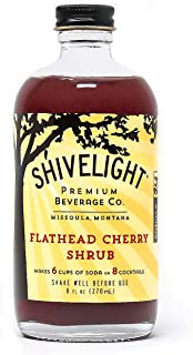 Flathead Cherry Shrub - Shivelight Premium Beverage Company - All Natural, Small Batch, Montana Sourced Drinking Vinegar for Sodas and Cocktails - 8 Ounces
