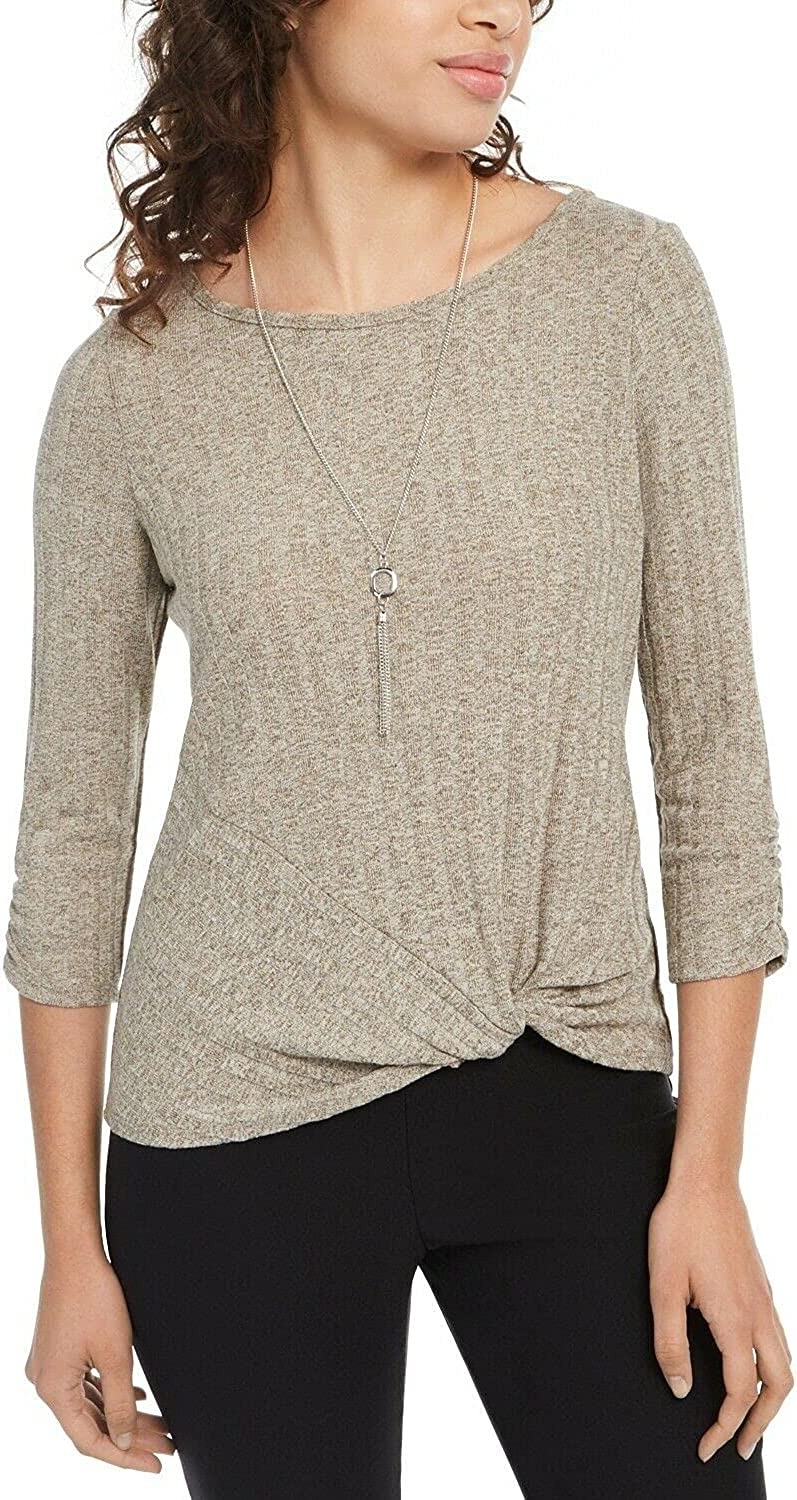 BCX Grey Pucker Knit Twisted Front Sweater