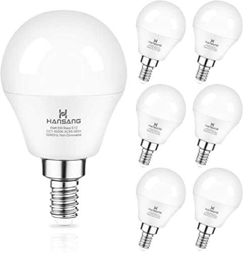Ceiling Fan Light Bulb E12 LED Bulb 4000K Natural Daylight Candelabra LED bulb 60 Watt Equivalent Hansang Chandelier ...