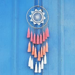 Artilady Macrame Dream Catchers for Bedroom - Tassel Wall Hanging Handmade Dreamcatchers Home Decor with Tassel Feather Ornament Craft Blessing Gift (Pink)