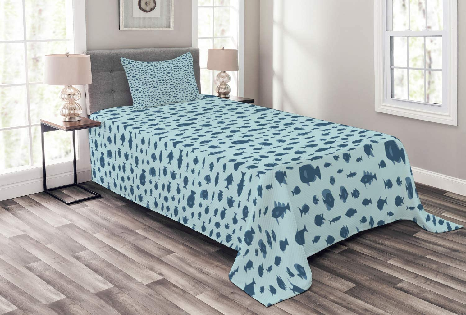 Ambesonne Fish Bedspread Underwater with Artwork Life Inspired Superior Max 72% OFF