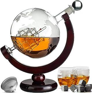 Whisiskey Karaffe - Globus - Whiskey Dekantierkaraffe Set - 900 ml - Geschenke für männer und frauen - Inkl. 9 Whisky-Steine und Geschenktülle