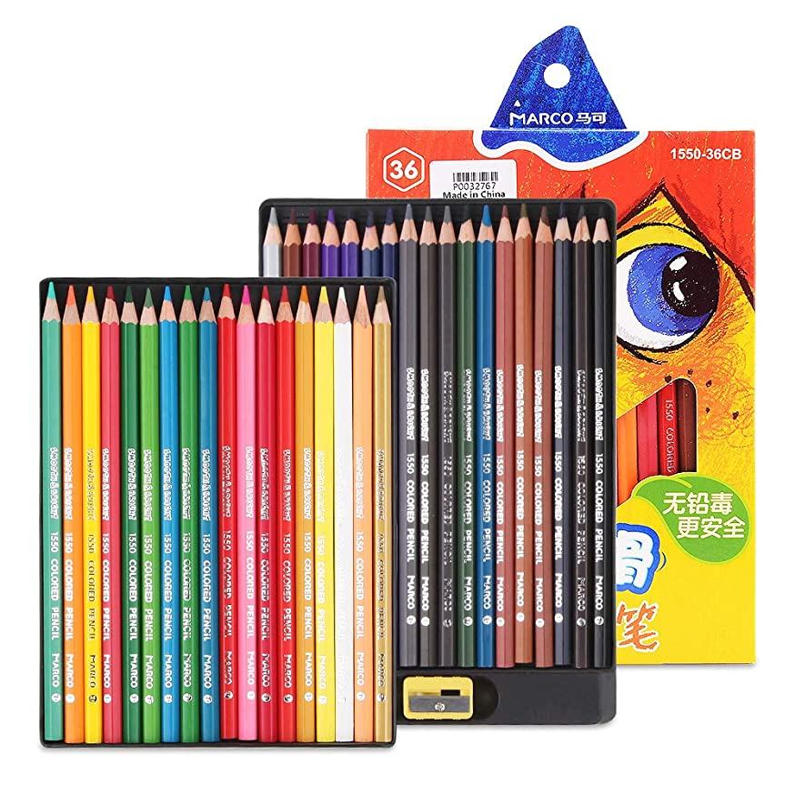 Marco 36 Colors Colored Pencils for Artists Coloring, Drawing, Sketching, Writing, Non-toxic Artist Soft Coloring Pencils Drawing Pencil Set for Adults, Teens, Kids