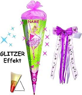 Alles-meine  GmbH mit 3-D Glitzer Glitzer Glitzer Effekt   - Schultüte -  Ballerina   Schwanenprinzessin  - 85 cm - 6 eckig - incl. Namen und große Schleife - Organza & Glimmer Abschluß - Zu.. B01FXXETI2  Umweltfreundlich 92b986