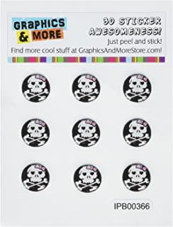 Graphics and More Girly Skull And Crossbones Home Button Stickers Fits Apple iPhone 4/4S/5/5C/5S, iPad, iPod Touch - Non-Retail Packaging - Clear