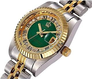 Women Men Luxury Rhinestone Stainless Steel Waterproof Couples Quartz Calendar Luminous Watch Set of 2