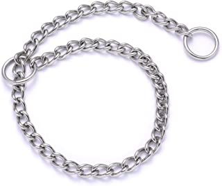 Mile High Life | Dog Training Chain Collar | Stainless Steel Slip P Ring | Choke Collar | Weather Proof | Tarnish Resistant | Variety Size and Weight Choices