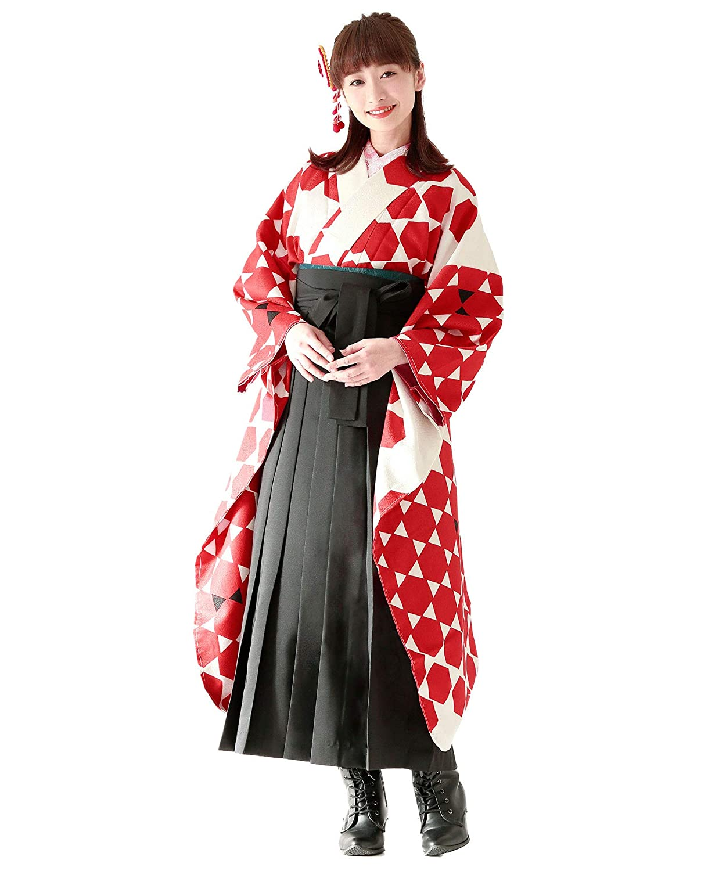 (ソウビエン)袴セット 卒業式 玉城ティナ×キスミス アイボリー 赤 黒 亀甲 小紋振袖