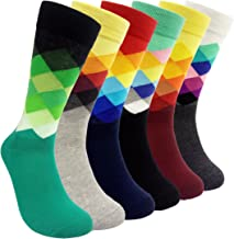 Mens Colorful Dress Socks Argyle - HSELL Men Multicolored Argyle Pattern Fashionable Fun Crew Socks
