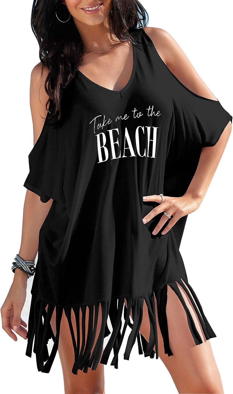 Womens Letters Print Baggy Swimwear Bikini Cover-ups Beach Dress