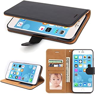 SOWOKO iPhone 6 Case, iPhone 6S Case, Leather Wallet Case Book Design with Flip Cover and Card Slots/Magnetic Closure/Stand for iPhone 6/ 6S, Black
