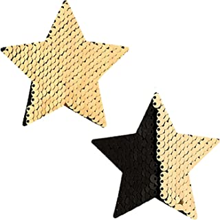 Neva Nude Flip and Sparkle Sequin Star, Nipztix Pasties Nipple Covers