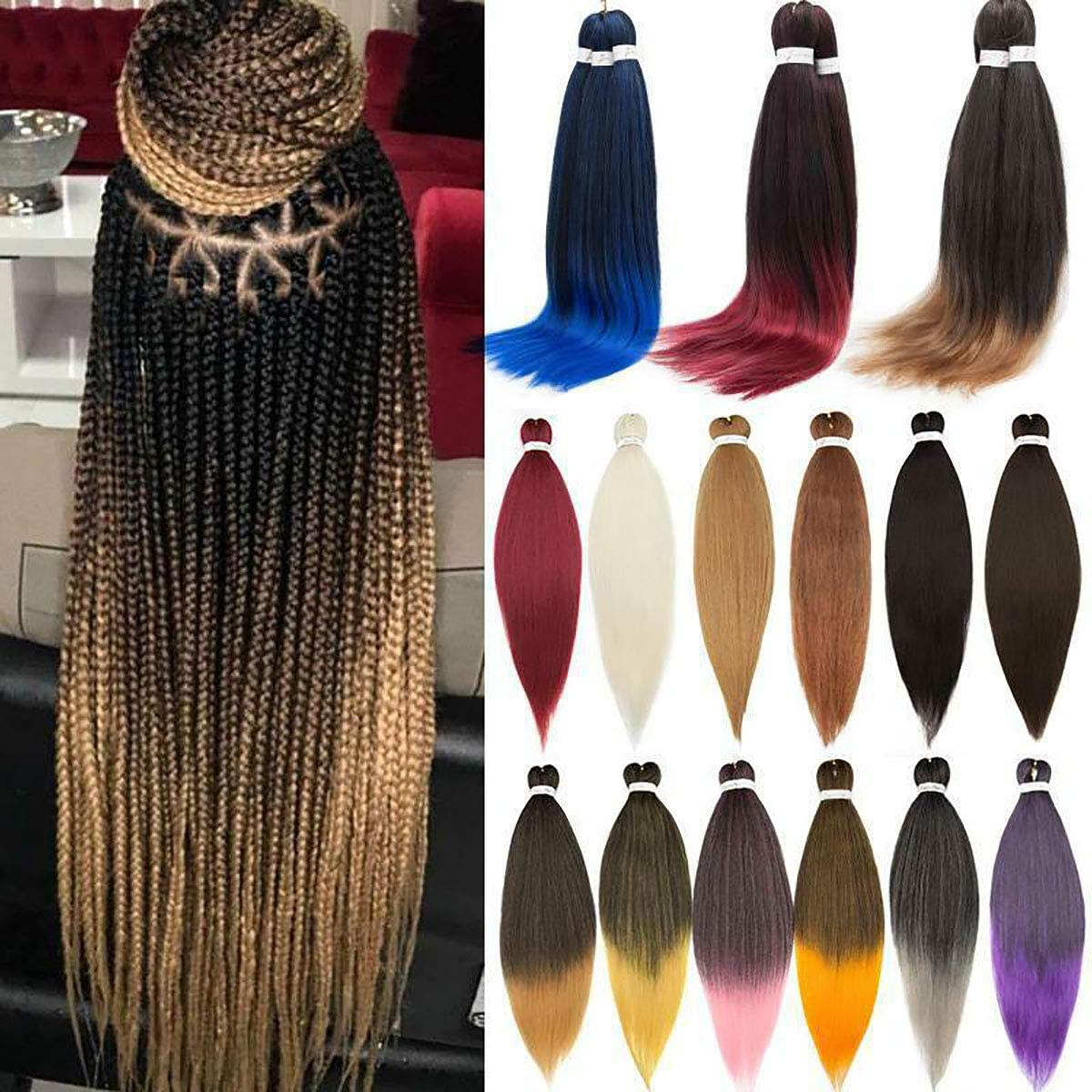 Pre-stretched Braiding Hair Extensions Professional Itch Free Synthetic Fiber Corchet Braids Yaki Hair Extensions 5 packs Braid Hair 26 Inch Black to Dark Blue