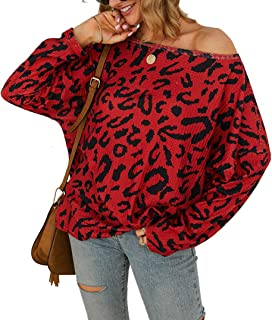 Women's Off Shoulder Oversized Pullover Sweaters Long Sleeve Leopard Print Tops Blouses