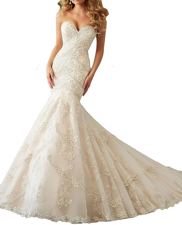 Weddinglee Wedding Dress 2017 Sexy Sweetheart Mermaid Lace Wedding Dresses Bridal Dress Gowns